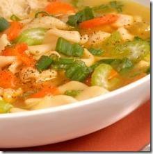 Sopa de pollo con vegetales. Receta