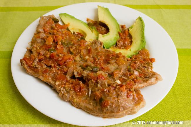 Bisteces a la mexicana. Receta | cocinamuyfacil.com