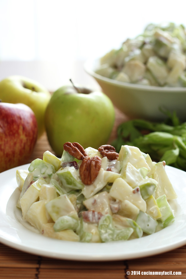 Ensalada de manzana waldorf receta para navidad cocina - Que hacer de cena facil ...