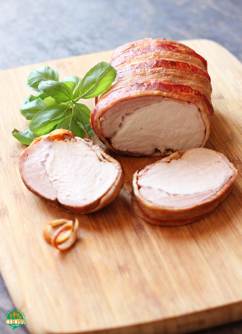 Lomo de cerdo con tocino y miel. Receta para Navidad | cocinamuyfacil.com