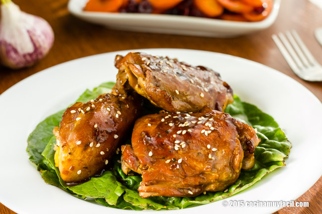 Glazed chicken with garlic and honey. Recipe