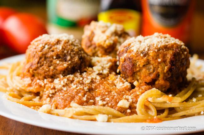Albóndigas con espagueti | cocinamuyfacil.com