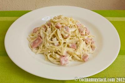 receta spaghetti con crema