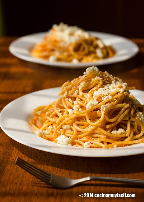 Espagueti rojo receta cocina muy facil for Comidas economicas mexicanas