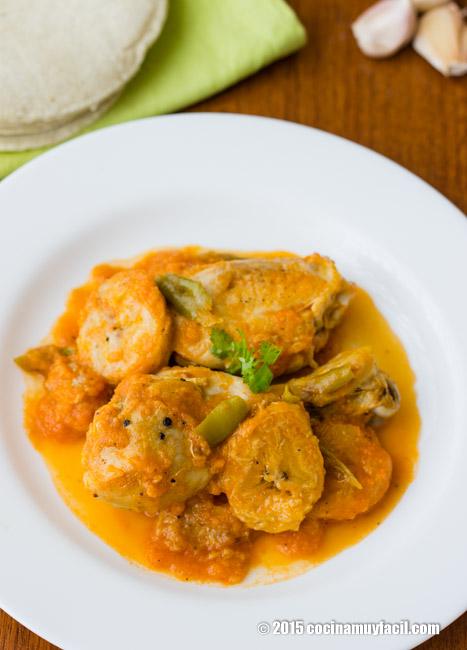 pollo guisado con pltano macho receta